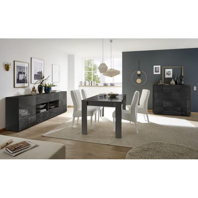 MIRON stół z wkładem lakier antracyt połysk  137-185 / 90 / 79  cm