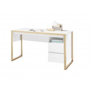 FAKIR biurko lakier biały mat + drewno dębowe 140/60/75