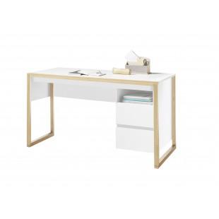FAKIR biurko lakier biały mat + drewno dębowe 140/60/75 cm