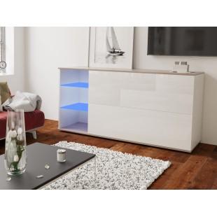 MODO komoda biała LED 160/75/37 fronty połysk lub mat, wieniec dąb