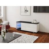 MODO biała szafka RTV LED 120/42,5/37 cm fronty połysk lub mat,  wieniec czarny
