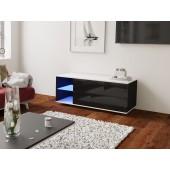MODO czarna szafka RTV LED 120/42,5/37 cm fronty połysk lub mat, wieniec biały