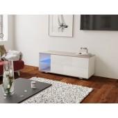 MODO biała szafka RTV LED 120/42,5/37 cm fronty połysk lub mat, wieniec dąb