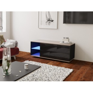MODO czarna szafka RTV LED 120/42,5/37 cm fronty połysk lub mat, wieniec dąb
