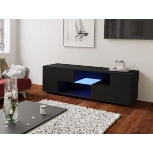 MODO czarna szafka RTV LED 152/42,5/37 cm fronty połysk lub mat