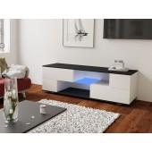 MODO biała szafka RTV LED 152/42,5/37 cm fronty połysk lub mat,  wieniec czarny
