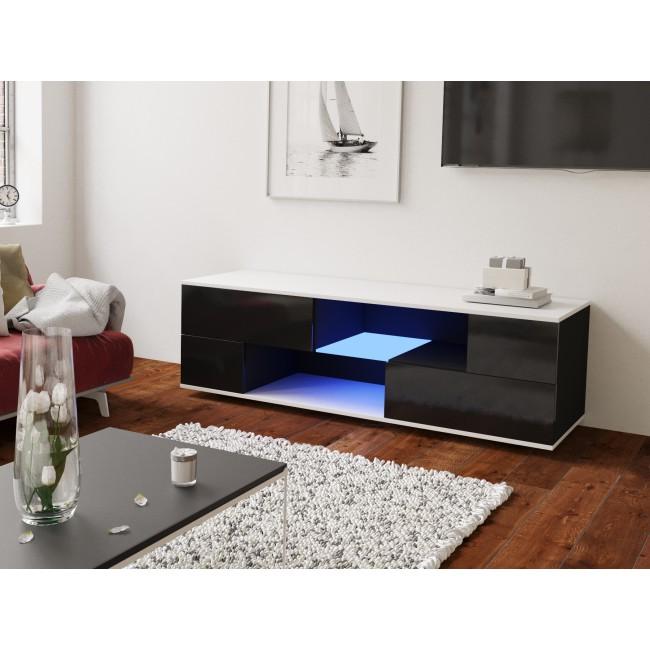 MODO czarna szafka RTV LED 152/42,5/37 cm fronty połysk lub mat, wieniec biały