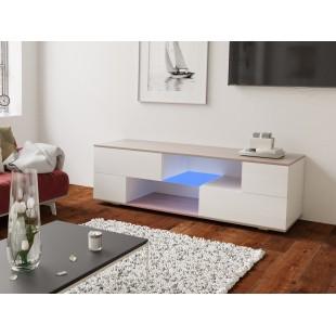 MODO biała szafka RTV LED 152/42,5/37 cm fronty połysk lub mat, wieniec dąb