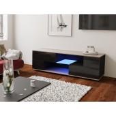 MODO czarna szafka RTV LED 152/42,5/37 cm fronty połysk lub mat, wieniec dąb