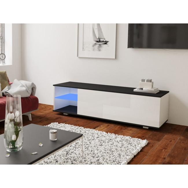 MODO biała szafka RTV LED 160/42,5/37 cm fronty połysk lub mat,  wieniec czarny