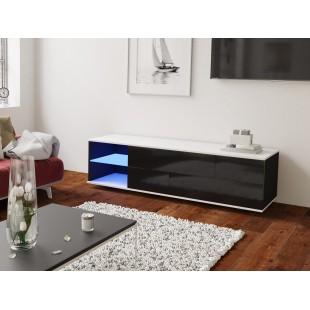 MODO czarna szafka RTV LED 160/42,5/37 cm fronty połysk lub mat, wieniec biały