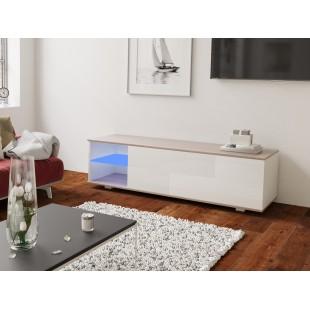 MODO biała szafka RTV LED 160/42,5/37 cm fronty połysk lub mat, wieniec dąb