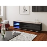MODO czarna szafka RTV LED 160/42,5/37 cm fronty połysk lub mat, wieniec dąb