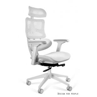 Szary fotel biurowy  ergonomiczy TECHNIC  biały
