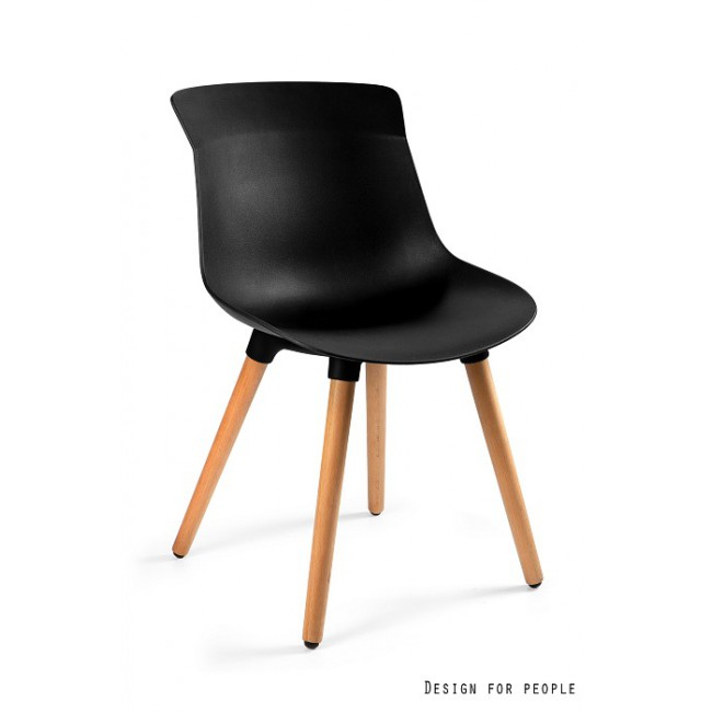 Krzesło MUZA czarne tworzywo + drewniane nogi