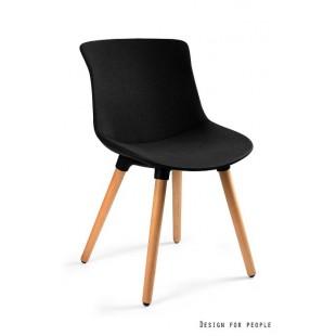 Krzesło MUZA czarna tkanina + drewniane nogi