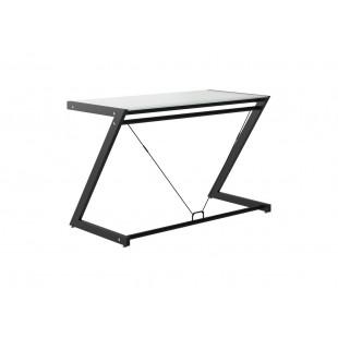 LINE-Z biurko czarne, blat szklany biały, różne wymiary