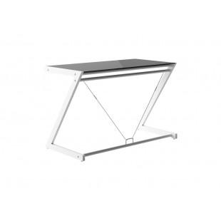 LINE-Z biurko białe, blat szklany czarny, różne wymiary