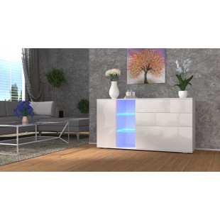 MODA komoda biała LED 152/75/37 fronty połysk lub mat