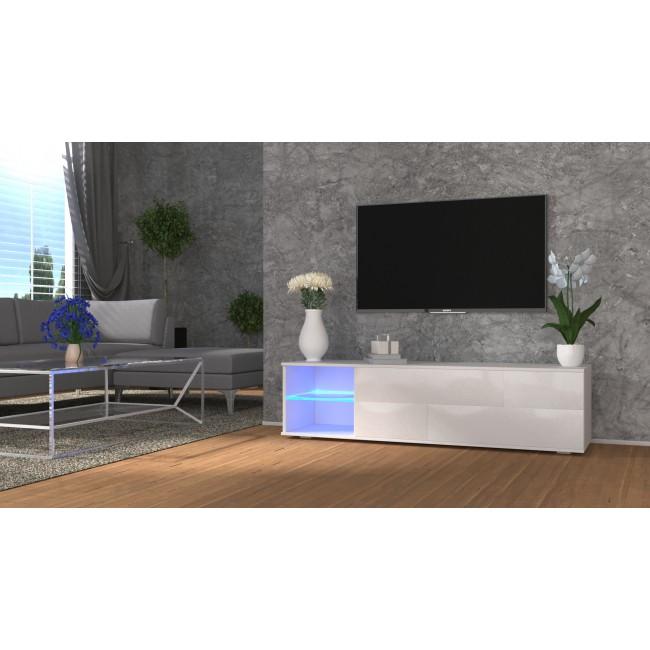 MODO biała szafka RTV LED 160/42,5/37 cm fronty połysk lub mat