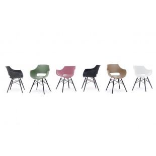 ROCK  krzesło plastikowe, nogi bukowe lakier czarny