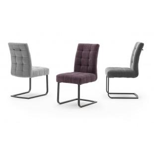 SALTO krzesło na płozie, lakier czarny mat, trzy kolory tkaniny