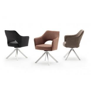TONIA krzesło tkanina 3 kolory, stelaż lakier czarny mat lub stal szlachetna