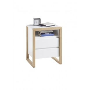 FALA szafka nocna lakier mat + drewno dębowe 48/40/60 cm