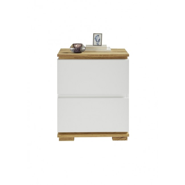 TUNEZJA szafka nocna lakier mat + drewno dębowe 48/40/59 cm