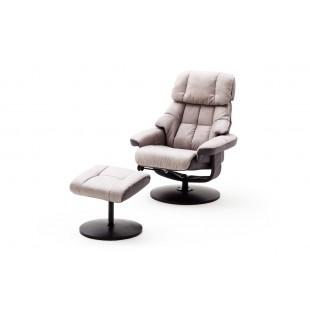 LIMERYK  fotel + pufa relax tkanina jasnoszara 82/85/102 cm