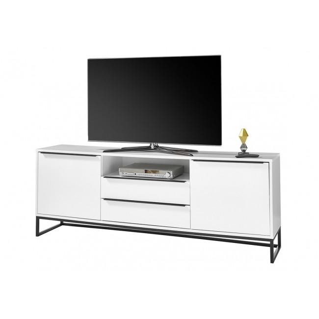 LILLY  biała szafka RTV stelaż metal 184/40/69  cm