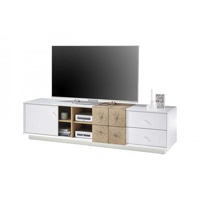 JAMAL szafka RTV biały mat i dąb 180/40/46 cm