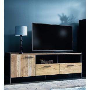 KUBAN szafka RTV drewno akacjowe 173/40/62 cm