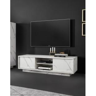 ICEBERG szafka RTV laminat marmur biały 139/43/44 cm