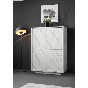 ICEBERG komoda wysoka laminat marmur biały 92/43/145 cm