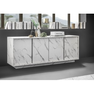 ICEBERG komoda 4-drzwi laminat marmur biały 180/43/79 cm