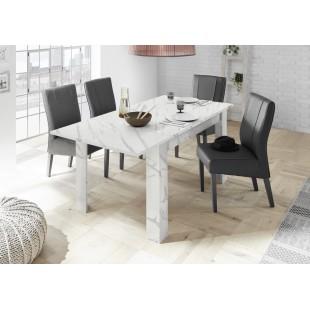 ICEBERG stół z wkładem laminat marmur biały 137-185/90/79 cm