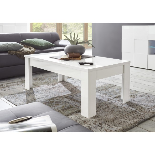 ICEBERG stolik kawowy lakier biały lub laminat marmur 122/65/45 cm