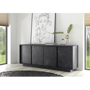 ICEBERG komoda 4-drzwi laminat marmur antracyt 180/43/79 cm