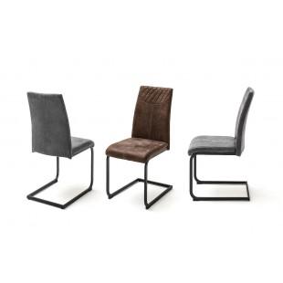 ASTRA krzesło płoza lakier czarny mat, dwa kolory tkaniny
