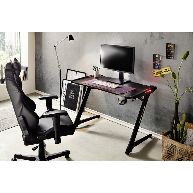 REJS 1 biurko gamingowe w optyce karbonu blat 120/64 cm