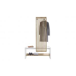 FUKSJA ławka z wieszakiem okleina dębowa 120/42/192 cm