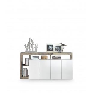 BURG komoda 4-drzwi biała/dąb Pero 184/42/93 cm