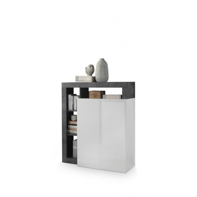 BURG komoda wysoka biała/oxyde 108/42/127 cm