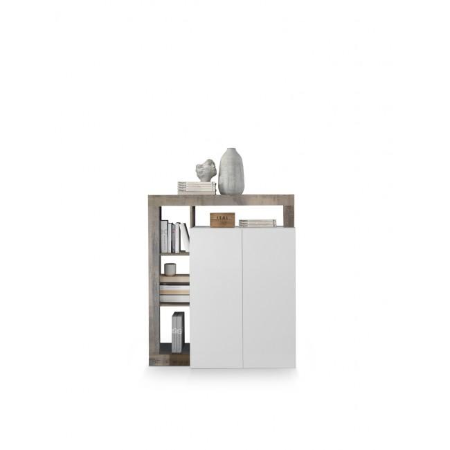 BURG komoda wysoka biała/dąb Pero 108/42/127 cm