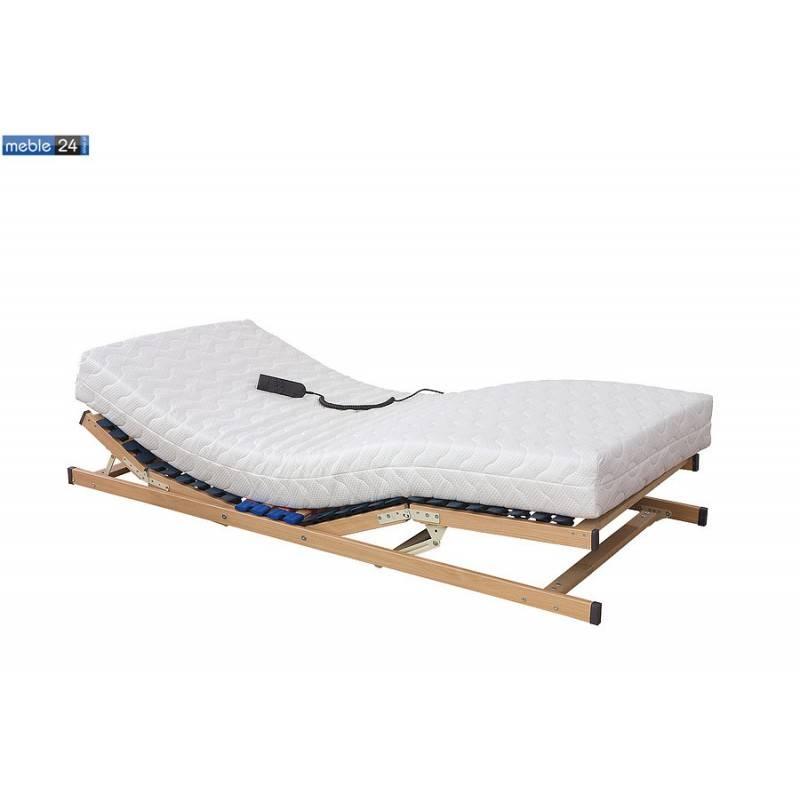 Stelaż Do łózka Elektryczny Regulowany Drewno Bukowe