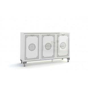 Komoda 3-drzwi NUTA biała z ozdobnym nadrukiem 138/40/96 cm