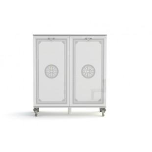 Komoda 2-drzwi NUTA biała z ozdobnym nadrukiem 100/40/122 cm