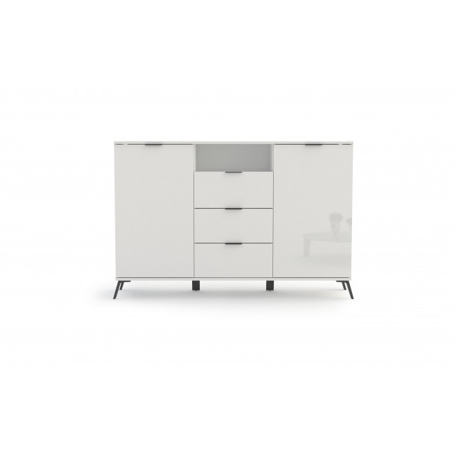Komoda biała w połysku 2-drzwi 3-szuflady BLANKA 150/40/100 cm