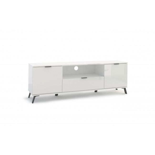 Szafka RTV biała w połysku 2-drzwi 1-szuflada BLANKA 220/40/60 cm